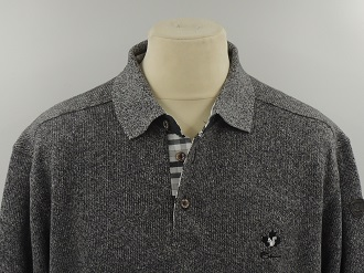Pull col polo gris chiné