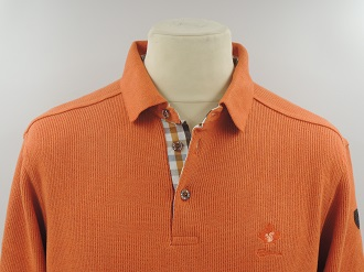 Pull col polo orange foncé