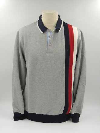 pull polo 3 bandes Gris