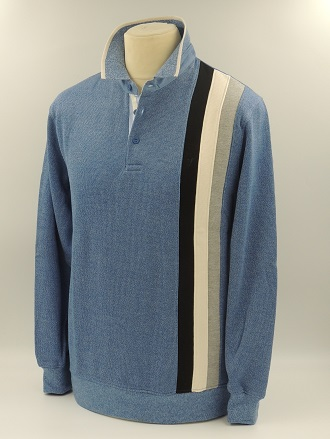 Pull polo 3 bandes jeans