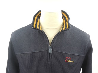 Pull col camionneur marine col rayé moutarde
