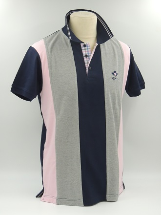 Polo manches courtes rayé rose