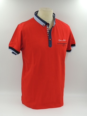 Polo manche courte col chemise rouge